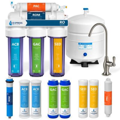Express Water Reverse Osmosis 5 Stage Water Filtration System – with Faucet, Tank, and 4 Replacement Filters – 50 GPD