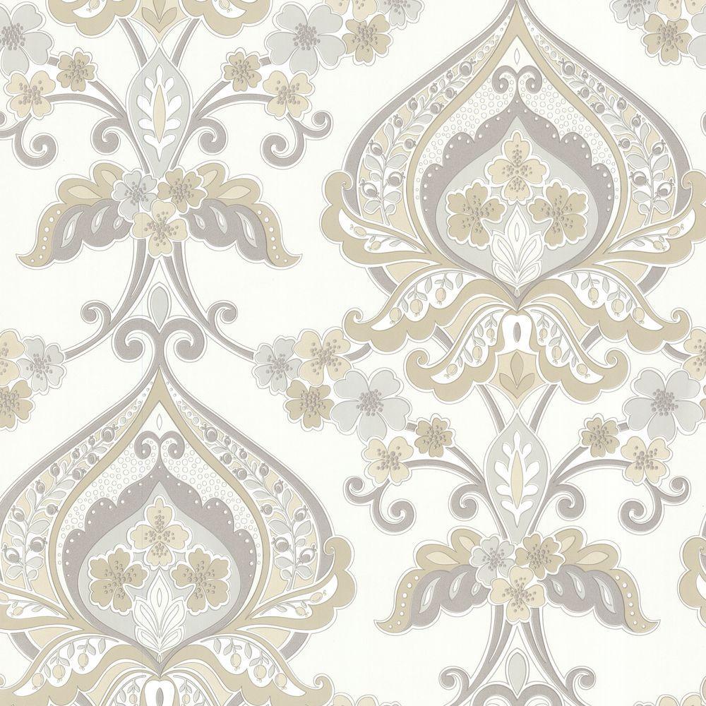Beacon House Ashbury Taupe Paisley Damask Wallpaper 450-67366