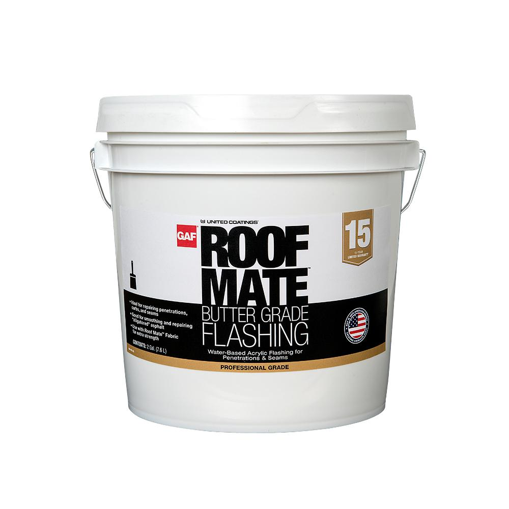 Gaf Roof Mate Acrylic Flashing 2 Gal Light Gray Liquid Wet Patch Elastomeric Sealant For Roof Repairs 890288419 The Home Depot
