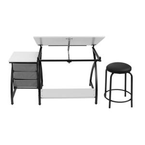 Admirable Comet 50 In W X 23 75 In D X 29 5 In H Black White Mdf Bralicious Painted Fabric Chair Ideas Braliciousco
