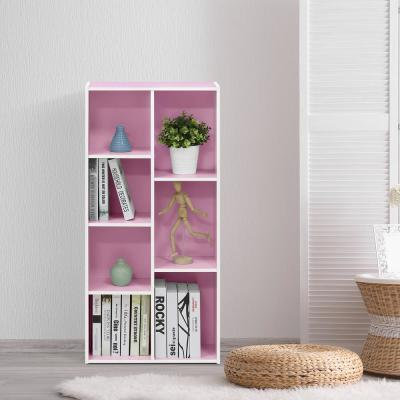 41.7 in. Pink/White Faux Wood 7-shelf Standard Bookcase with Storage