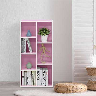 White/Pink 7-Cube Reversible Open Shelf