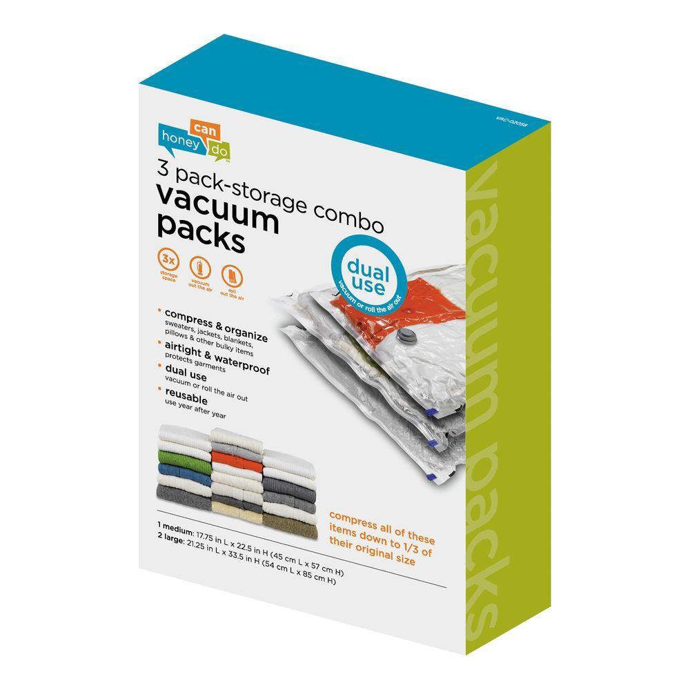 3-Pack Super Travel Combo Vacuum-Pack Storage Bags (2 Large, 1 Medium)