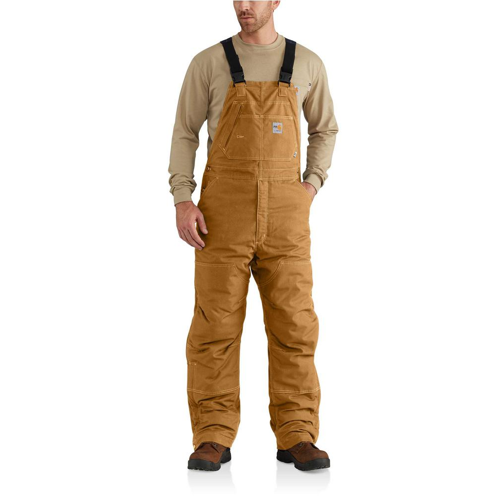 450a70ae56ea Carhartt. Men s 32 in. x 34 in. Brown Cotton Nylon FR Quick Duck Lined Bib  Overall