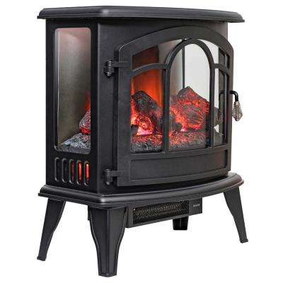 20 in. Freestanding Electric Fireplace Mantel Heater in Black with Remote and Logs