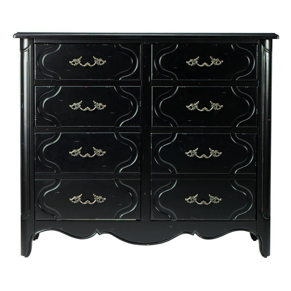 Home Decorators Collection 42 in. W Genevieve Antique Black 8-Drawer Horizontal File Cabinet