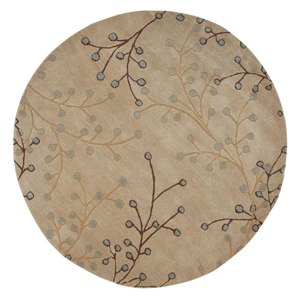 Springtime Beige 5 ft. 9 in. Round Area Rug