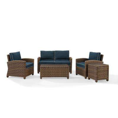 Bradenton 5-Piece Outdoor Wicker Conversation Set with Navy Cushions