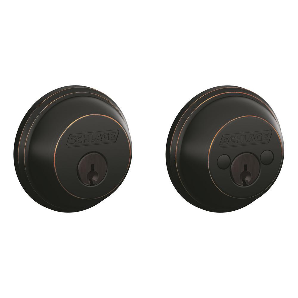 B60 Max Sec Double Cylinder Deadbolt Adjustable Backset in Aged Bronze