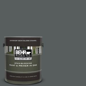 1 gal. #N500-6 Graphic Charcoal Semi-Gloss Enamel Exterior Paint and Primer in One