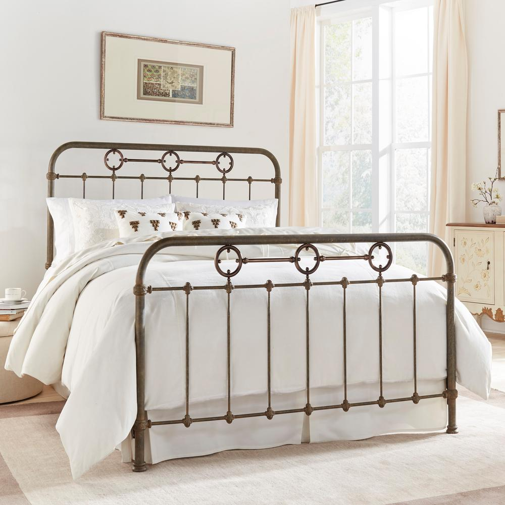 Fashion Bed Group Madera Rustic Green Queen Complete Bed With Metal Panels  And Brass Plated Designs