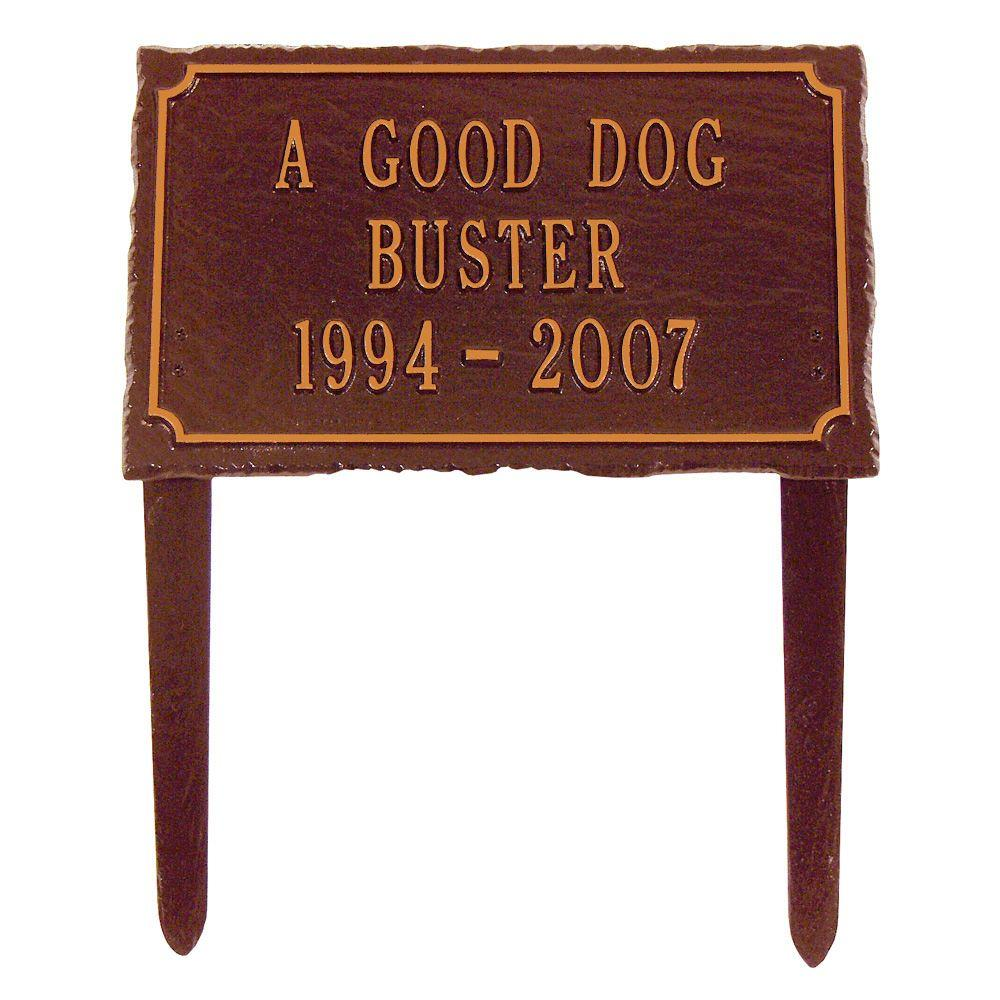 Whitehall Products Slate Pet Antique Copper Three Line Lawn Memorial Plaque