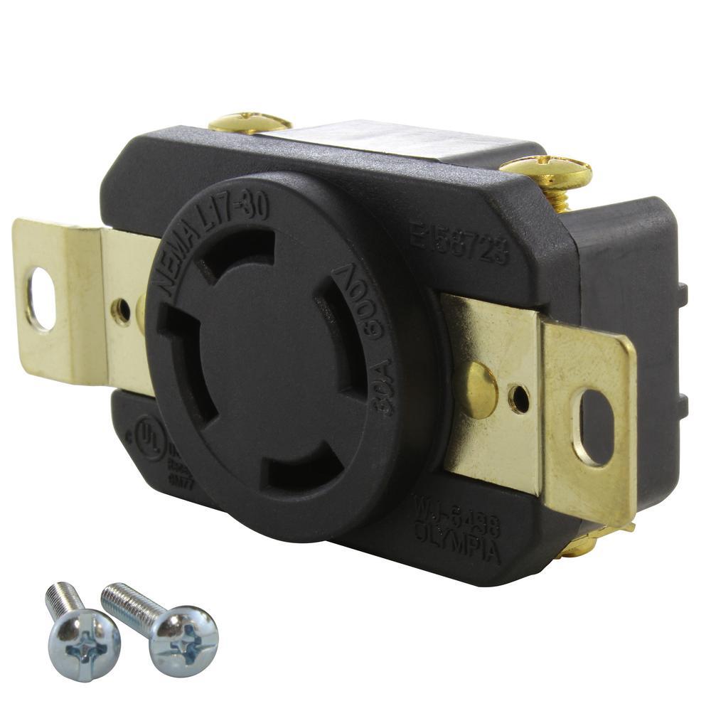 30 Amp 600-Volt Nema L17-30R Flush Mount Locking Industrial Grade Outlet