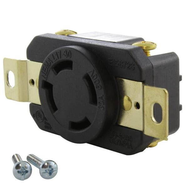 30 Amp 600-Volt Nema L17-30R Flush Mount Locking Industrial Grade Outlet