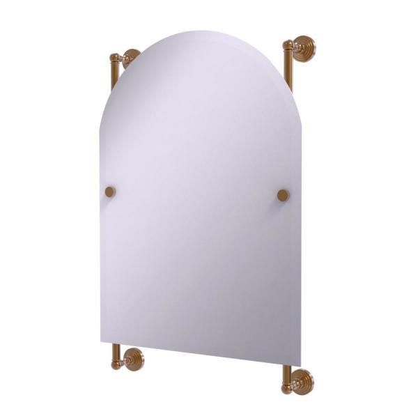 Waverly Place Collection Arched Top Frameless Rail Mounted Mirror in Brushed Bronze