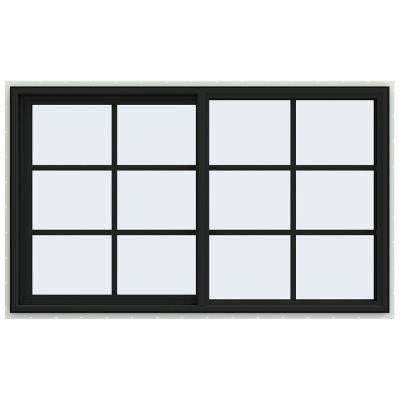 60 in. x 36 in. V-4500 Series Bronze FiniShield Vinyl Left-Handed Sliding Window with Colonial Grids/Grilles