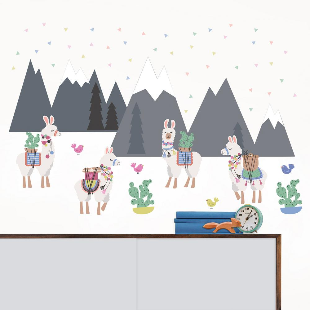 Wall Pops Grey Laid Back Llamas Wall Decal This wall art kit creates a wonderfully whimsical scene. Accompanied by bird friends, llamas sporting colorful pom poms and tassels frolic by a mountain range. Laid Back Llamas Wall Art Kit contains 140-pieces on 4-sheets that measure 9.75 in. x 17.25 in. Color: Grey.