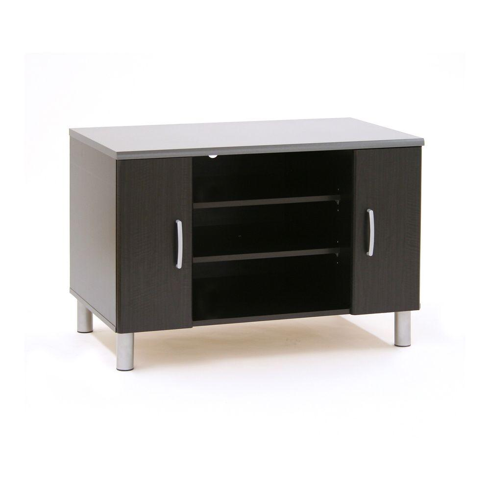 South Shore Cosmos TV Stand/Gaming Station in Black Onyx and Charcoa