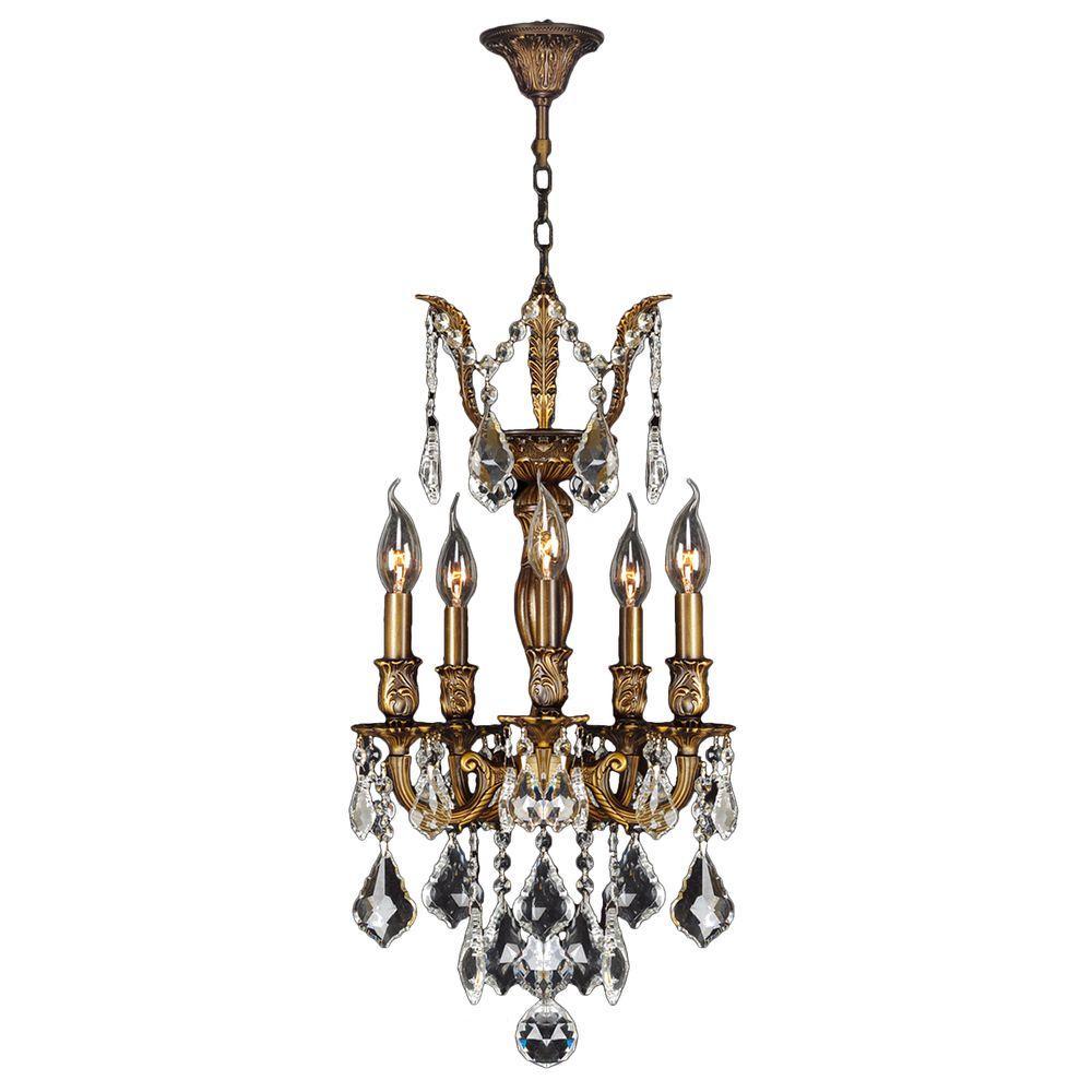 Worldwide Lighting Versailles 5-Light Antique Bronze and Clear Crystal Chandelier
