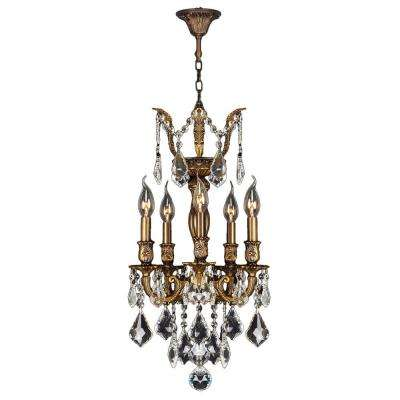 Versailles 5-Light Antique Bronze and Clear Crystal Chandelier