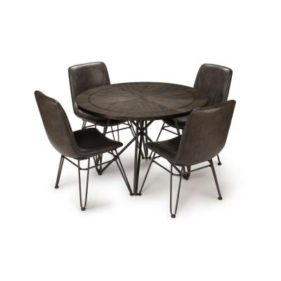 Derek Gray Top/Black Base 5-Piece Dining Table Set