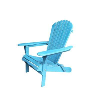 Villaret Blue Folding Wood Adirondack Chair