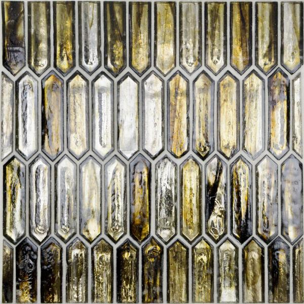 Fargin Golden Crust Elongated Hexagon 12 in. x 10 in. x 7mm Polished Glass Mosaic Tile (0.82 sq. ft.)