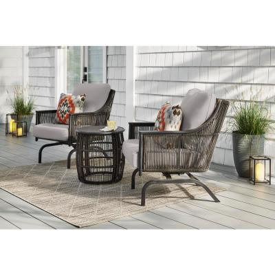 Bayhurst  Black 3-Piece Wicker Outdoor Patio Motion Seating Set with CushionGuard Stone Gray Cushions