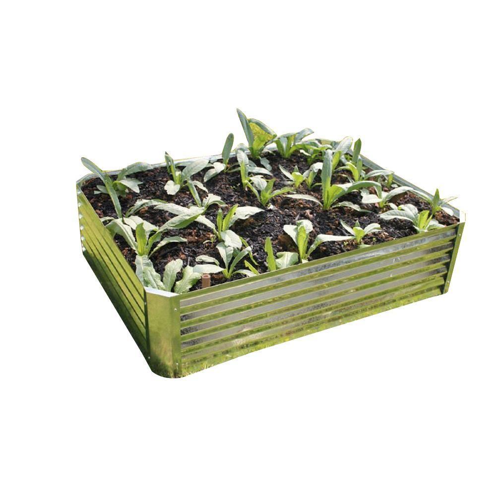 Viagrow Viagrow 47 in. x 35 in. x 11.8 in. Galvanized Steel Raised Garden Bed, Silver