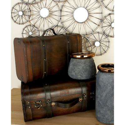 Rustic Suitcase-Shaped Faux Leather and Wood Boxes (Set of 2)