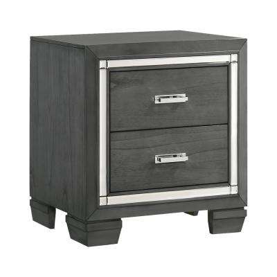 Kenzie 2-Drawer Grey Nightstand