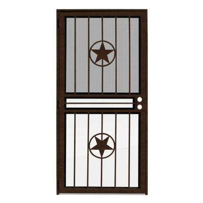 36 in. x 80 in. Lone Star Copperclad Recessed Mount All Season Security Door with Insect Screen and Glass Inserts
