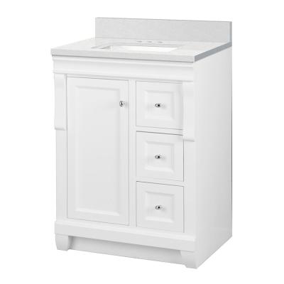 Naples 25 in. W x 22 in. D Bath Vanity Cabinet in White with Engineered Stone Vanity Top in Snowstorm with White Basin
