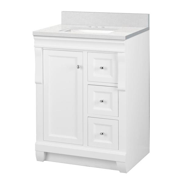 Home Decorators Collection Naples 25 In W X 22 In D Bath Vanity Cabinet In White With Engineered Stone Vanity Top In Snowstorm With White Basin Nawa2421d Sst The Home Depot