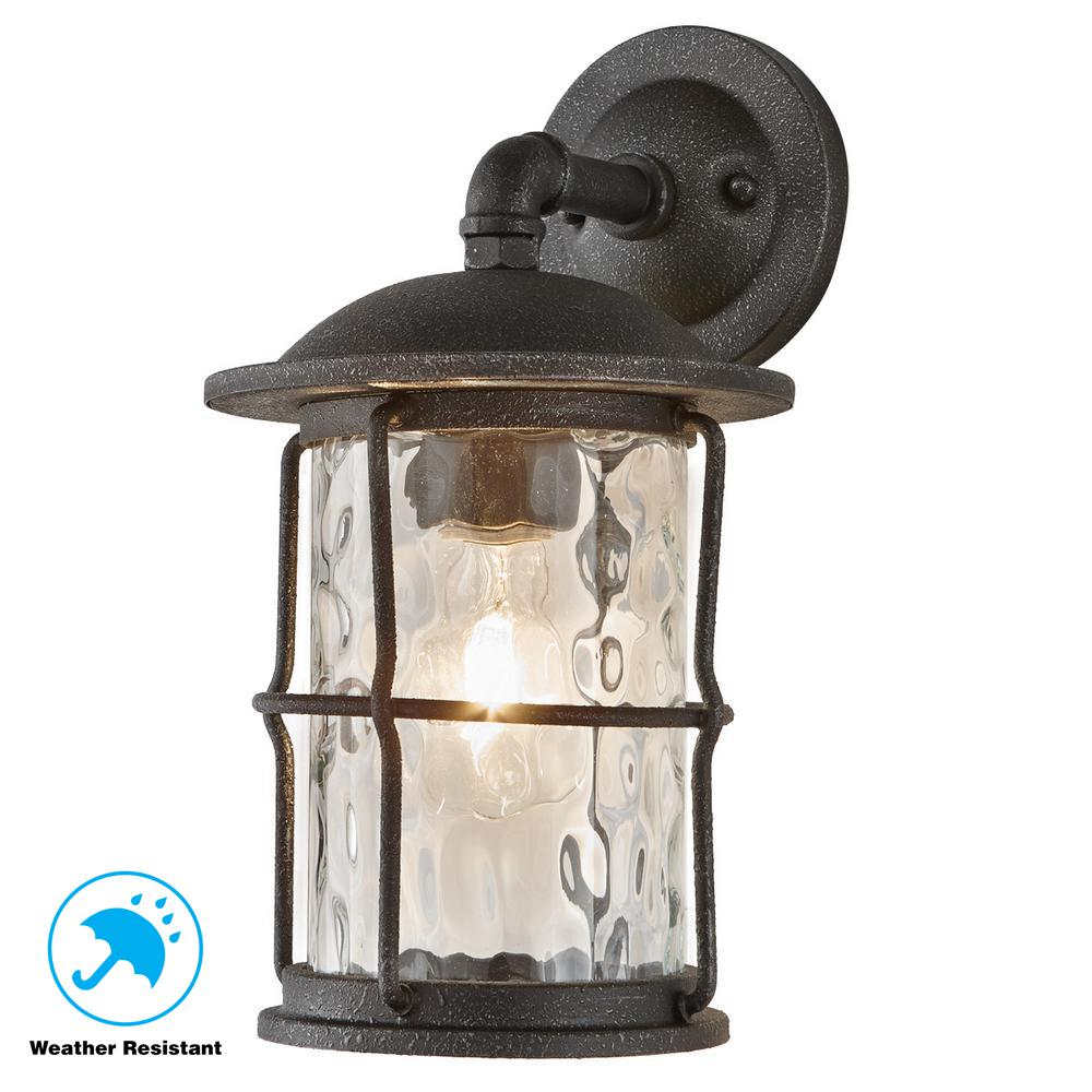 Home Decorators Collection 1 Light Gilded Iron 13 5 In Outdoor Wall Mount Lantern
