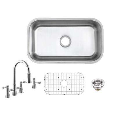 All-in-One Undermount 18-Gauge Stainless Steel 30 in. Single Bowl Kitchen Sink with Bridge Kitchen Faucet