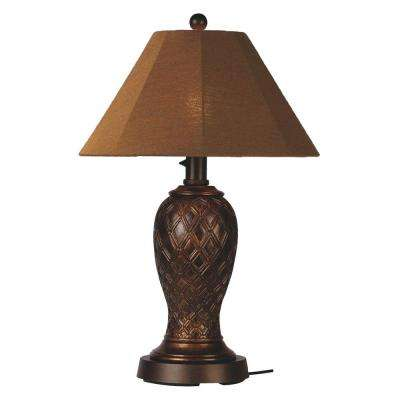 Monterey 34 in. Bronze Outdoor Table Lamp with Teak Shade