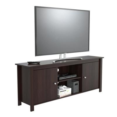 Inval Collection 63 in. Espresso Wengue Wood TV Stand Fits TVs Up to 60 in. with Storage Doors