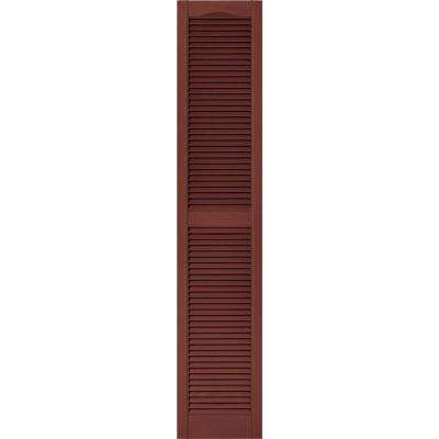 15 in. x 75 in. Louvered Vinyl Exterior Shutters Pair #027 Burgundy Red