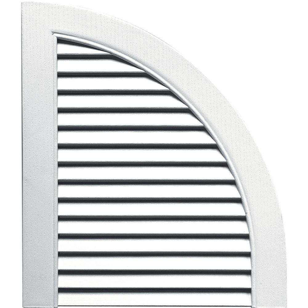 Builders Edge 15 in. x 17 in. Louvered Design White Quarter Round Tops Pair #001