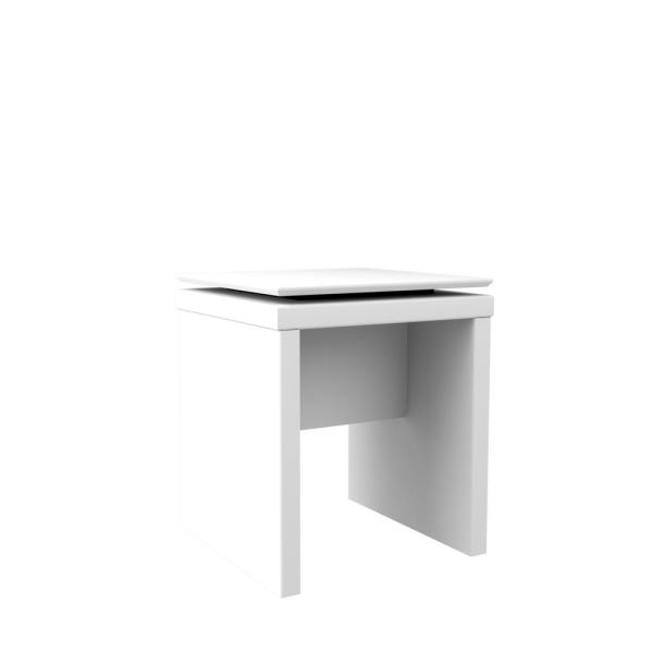 Manhattan Comfort Lincoln White Gloss and Maple Cream Square End Table