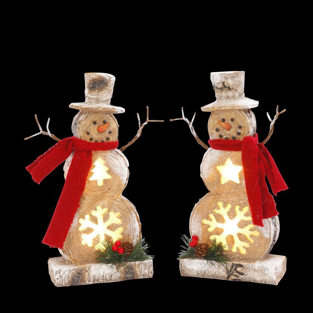 10 In H Resin Snowmen 2 Set 2348820ec The Home Depot