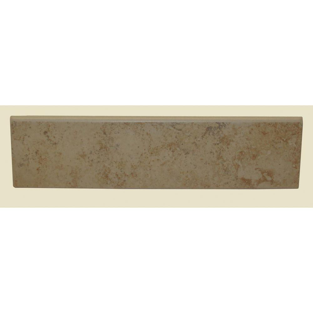 Brixton Sand 3 in. x 12 in. Glazed Ceramic Surface Bullnose