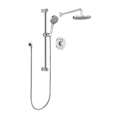 Belanger 1-Spray Round Hand Shower and Showerhead from Wall Combo Kit with Slide Bar and Valve in Polished Chrome