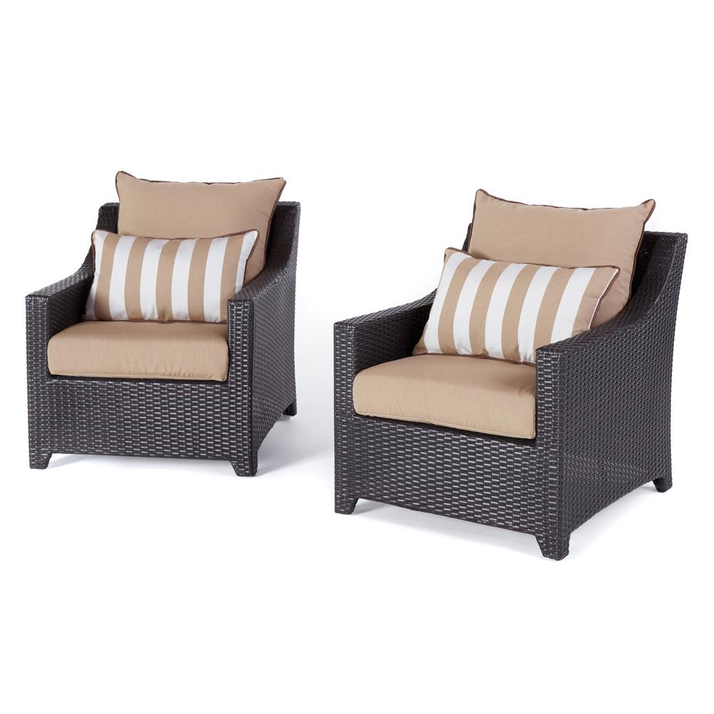 Rst brands deco 2 piece all weather wicker patio club chair seating set with maxim beige - Deco lounge grijs en beige ...