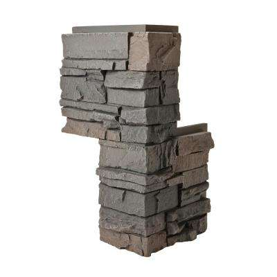 Stacked Stone Coffee 24 in. x 12 in. Faux Stone Siding Corner Piece (2-Pack)