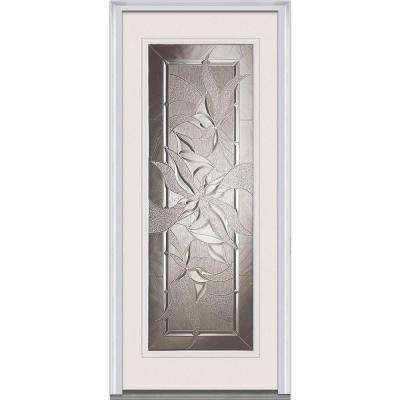 36 in. x 80 in. Lasting Impressions Left-Hand Full Lite Decorative Classic Primed Fiberglass Smooth Prehung Front Door