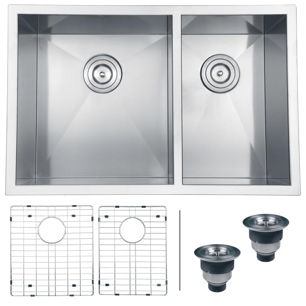double bowl 60 40 undermount 16 gauge stainless steel kitchen sink rvh7200   the home depot ruvati 29 in  double bowl 60 40 undermount 16 gauge stainless      rh   homedepot com
