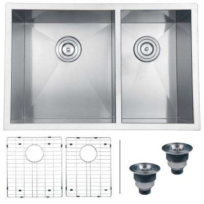 29 in. Double Bowl 60/40 Undermount 16-Gauge Stainless Steel Kitchen Sink