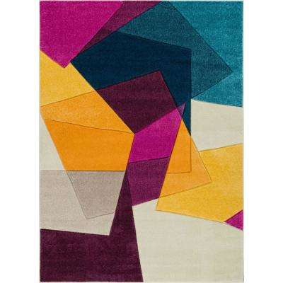 Ruby Bombay Violet 8 ft. x 10 ft. Mid-Century Modern Geometric Area Rug